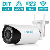 AutoFocus Bullet Security Wireless IP Camera,Reolink RLC411WS Motion Detect Recording with 16GB Micro SD Card, 4 Mega Pixels Dual Band 2.4GHz/5.8GHz Home Security Camera, 4X Optical Zoom,Outdoor, Night Vision 80-110ft