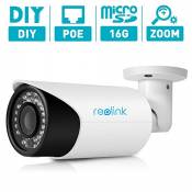 Reolink RLC411S Motion Detect Recording with 16GB Micro SD Card AutoFocus Bullet Security IP Camera,4MP,4X Optial Zoom,PoE P2P Outdoor, Good Night Vision Home Surveillance, Motion Detection, Remote Access