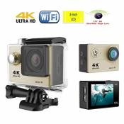[4K HD Wifi Fly Cam] FPV H9 2,0 pouces Lcd 170 degrés 6G ultra large Angle 4K Ultra HD Wifi caméra étanche Sport (Or)