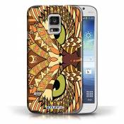 Coque en plastique pour Samsung Galaxy S5 Mini Collection Motif Animaux Aztec - Hibou-Orange