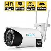 Reolink RLC-411WS-LB Wireless IP Camera, 4-Megapixel 1440P Wireless Security 2.4G/5.8G Dual Mode Wifi Outdoor Bullet, 4X Optical Zoom, Built-in 16GB Micro SD Card,2560x1440, Night Vision 80-110ft