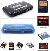 hayatec All types Memory Card Reader/Writer Adaptateur for Smart Media SM, Compact Flash, Memory Stick, SD + CF I II III RS MMC XD Picture SD SDHC SDXC Mini SD MMC Memory Stick PRO Pro Duo Old type Reader USB 2.0 Fast, Works with PC Macbook & tabets
