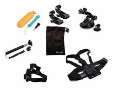 Accessory Set for GoPro Hero 2 3 4 5 Chest Head Belt Strap Mount Floating Grip fabric plastic black - by LC Prime®