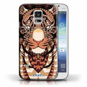 Coque en plastique pour Samsung Galaxy S5 Mini Collection Motif Animaux Aztec - Tigre-Orange