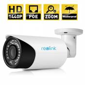 AutoFocus Bullet Security IP Camera,Reolink RLC411 4MP,4X Optial Zoom,PoE,Outdoor, with Good Night Vision Home Surveillance, Motion Detection, Remote Access, Plug and Play.