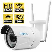Reolink RLC-410WS-LB Wireless IP Camera ,4-Megapixel 1440P Wireless Security 2.4G/5.8G Dual Mode Wifi Outdoor Bullet , Built-in 16GB Micro SD Card, 2560x1440, Night Vision 65-100ft, E-mail Alert
