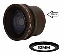 52 mm, 58 mm Convertisseur grand angle 0,17x avec Macro Close-up Attachment pour Canon, Carl Zeiss, Fujifilm, Fujinon, Nikon, Panasonic, Pentax, Olympus, Samsung, Sigma, Sony, Tamron, Tokina Objectif (52mm, 58mm)
