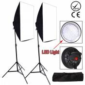 Abeststudio Studio de photographie LED Lumière Softbox continu Kit d'éclairage 2x Softboxes 50x70cm Softbox + 2x alliage d'aluminium léger Stand de + 2X 1LED Lumière Studio Photo Ampoules 1 Heavy Duty Carry Bag