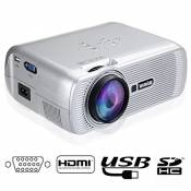 Mini Projecteur Video,Videoprojecteur HD LED Retroprojecteur Portable Projector Home Cinema 1200 Lumens Multi Interfaces HDMI SD AV VGA USB Compatible Avec Smartphone iPhone iPad PC Ordinateur Portable PS3 XBOX360 Blu-Ray Lecteur DVD-Argent