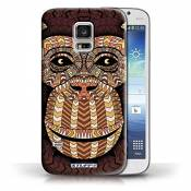 Coque en plastique pour Samsung Galaxy S5 Mini Collection Motif Animaux Aztec - Singe-Orange