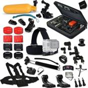 Xtech® Complete GoPro HERO Accessories Kit for GoPro HERO4 Hero 4, HD Motorsports HERO,GoPro Hero2 Outdoor Edition Digital Cameras Includes: Custom Case+Head Strap Mount+Cup Mount+Chest Strap Mount+2 Chest Strap+Handheld Monopod+Camera Wrist Mount+Bobber Handle+Bike&Helmet Harness Mount+Wrist Strap Mount+Lens Cap Keeper+Memory Card Wallet+2 Screen Protectors+Table Tripod+Cleaning Kit