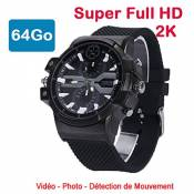 Cyber Express Electronics – Montre Mini Caméra Espion 64 Go 2K Super Full HD 2304 x 1296p Détection de Mouvement CEL-DWF-74-64