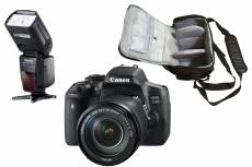 Canon EOS 750D reflex 24.2 mpix + objectif Canon EF-S 18-135mm f/3.5-5.6 IS STM + sac photo professionnel + speedlite flash