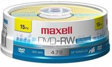 Maxell 635117 4.7 GB Rewritable DVD-RW Spindle 15 Pack