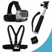 Xtech® Replacement GoPro Head Strap mount + Chest Strap Mount + Camera Wrist Strap Mount Kit for GoPro Hero3+, GoPro Hero3, GoPro Hero2, GoPro HD Motorsports HERO, GoPro Surf Hero, GoPro Hero Naked, GoPro Hero 960, GoPro Hero HD 1080p, GoPro Hero2 Outdoor Edition Digital Cameras