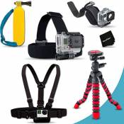 """Xtech® Ultimate MOUNTS Accessory Kit for GoPro HERO4 Hero 4, GoPro Hero3+, GoPro Hero3, GoPro Hero2, GoPro HD Motorsports HERO, GoPro Surf Hero, GoPro Hero Naked, GoPro Hero 960, GoPro Hero HD 1080p, GoPro Hero2 Outdoor Edition Digital Cameras Includes Head Strap Mount + Chest Strap Mount + 12"""" inch Highly Flexible Tripod + Camera Wrist Strap Mount + Floating Bobber Handle + Ultra Fine HeroFiber Cleaning Cloth"""