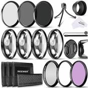 Neewer 58mm Close-up Filtres Macro (+1 +2 +4 +10) / 58mm Filtres (UV CPL FLD) et 58mm Filtres ND (ND2 ND4 ND8) Kit pour Tous 58mm Objectifs et Apparei
