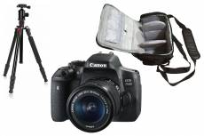 Canon EOS 750D reflex 24.2 mpix + objectif Canon EF-S 18-55mm f/3.5-5.6 IS STM + sac photo professionnel + trépied