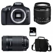 Canon Eos 1300D + Ef-s 18-55mm f/3-5-5.6 Is Ii + Ef-s 55-250mm f/4-5.6 Is Stm Garanti 3 ans + Sac + Carte Sd 4Go