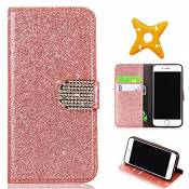MAOOY iPhone 6sPlus Cuir Coque, iPhone 6Plus Luxury Bling Glitter Case, Wallet Flip Cover Fente Carte et Support Stand pour iPhone 6Plus/6sPlus, Rose