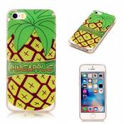 iPhone 5C case KSHOP TPU en Souple Silicone Bumper Housse Ultra mince Flexible Transparent de Protection Portable Anti shock Anti Scratch avec Motif - Amour d'été - Ananas Cartoon