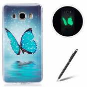 Samsung Galaxy J510/J5 2016 TPU Case Coque Samsung Galaxy J510/J5 2016 Gel Housse Feeltech [Gratuit Stylet Pen] Luminous Effect Noctilucent Green Glow in the Dark Matte White Ultra Slim Soft Rubber Shock Absorber Flexible Bumper Protective Cover Skin Shell pour Apple Samsung Galaxy J510/J5 2016 with Stylish Unique Colourful Printed Pattern Design - Bleu papillon