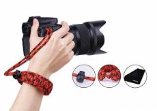 Prowithlin Dragonne appareil Photo, Braided Sangle de poignet pour photo DSLR SLR (Rouge + Noir)