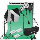 Photo Studio Kit d'Eclairage Continu 3 Softbox+3 Trépied+12 Lampes+3Toile 2000W