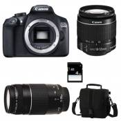 Canon Eos 1300D + Ef-s 18-55mm f/3-5-5.6 Is Ii + Ef 75-300mm f/4.0-5.6 Iii Garanti 3 ans + Sac + Carte Sd 4Go