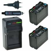 Chili Power NP-F970, NP-R60 F975, NP-F960, NP-F930 NP-F950 Kit : 2 x Batterie + Chargeur pour Sony Sony HDR-CX500 V ax2000, HDR-PJ10 FX1/FX7, FX1000,