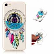 MUTOUREN TPU coque pour IPhone 5C silicone transparent liquid Crystal cover bling case de protection Anti-poussière housse etui Anti-shock case étanche Résistante Très Légère Ultra Slim cas Soft bumper doux Couverture Anti Scratch-sables mouvants Dreamcatcher bleu clair