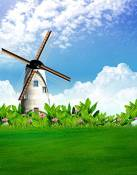 Fond Herbe Pelouse Blue Sky Windmill Photographie Backdrops photo Props studio 5x7ft