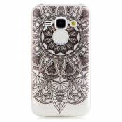 KSHOP Etui cas TPU silicone pour Samsung Galaxy J1(2015)J100 Coque Case Cover Housse de protection Shell avec mince motif d'impression - Sunflower Indian Black