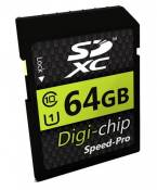 Digi-Chip 64 GO 64GB CLASS 10 SD SDXC Carte Mémoire pour Panasonic Lumix DMC-GM5, DMC-LX100, DMC-TZ70, DMC-TZ57, DMC-SZ10, DMC-FT30, DMC-FT6, DMC-GF7,