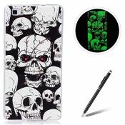 HUAWEI P8 Lite TPU Case Coque HUAWEI P8 Lite Gel Housse Feeltech [Gratuit Stylet Pen] Luminous Effect Noctilucent Green Glow in the Dark Matte White U