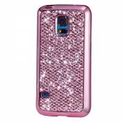 KSHOP Etui pour Samsung Galaxy S5 Mini Bling TPU Gel Coque Ultra Mince Case Cover avec Cadre de Galvanoplastie Telephone Portable Soft Housse Cas Prime Flex Silicone Shell Coquille Couvrir Coverture Pare-Chocs Anti-Choc Skin Protection Bumper - Rose