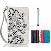 MUTOUREN Portefeuille PU Cuir Etui Coque pour iPhone SE/5/5S, Case Wallet Flip Protective Cover Housse,Coque Modèle de Protection en Cuir Folio Housse Swag Case Cover Coquille Couverture avec fonction Stand and Card Slots Peacock Flower Blanc White + Metall stylus pen