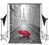 1.5x2.1m Pluie Parapluie Rouge Paris Tour Eiffel photo fond Fond sans pli