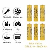 6 batteries rechargeables Li ion GTL 18650 3.7V 6800mAh pour lampe torche LED RC1062