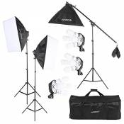 Andoer Studio Photo Video Kit d'éclairage (12 * 45W Ampoule / 3 * 4en1 Bulb Socket / 3 * Softbox / 3 * Lumière Support / 1 * Cantilever bâton / 1 * Sa