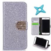 MAOOY iPhone 6sPlus Cuir Coque, iPhone 6Plus Luxury Bling Glitter Case, Wallet Flip Cover Fente Carte et Support Stand pour iPhone 6Plus/6sPlus, Argen