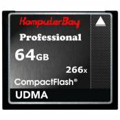 Komputerbay 64 Go High Speed Compact Flash CF 266X Ultra High Speed Card 36 Mo/s en écriture et 37MB/s en lecture UDMA