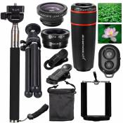 XCSOURCE 10in1 Lens Kit Fish Eye+Wide Angle+Macro Lens+Tele+Monopod+Tripod XC311