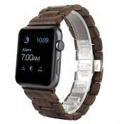 2016 Bracelet en bois Apple Watch, Bracelet AIYIBEN Bracelet Bracelet en bois Bracelet pour Apple iWatch Sport & Edition (42MM, Brown)
