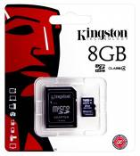 Carte mémoire pour Samsung Galaxy S4 Mini i9195- Kingston 8 Go microSDHC Class 4 adaptateur SD inclus - puce de mémoire, extension de mémoire.