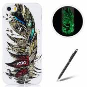 IPhone 5/5S/SE TPU Case Coque iPhone 5/5S/SE Gel Housse Feeltech [Gratuit Stylet Pen] Luminous Effect Noctilucent Green Glow in the Dark Matte White U