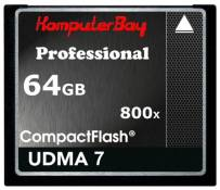 Komputerbay 64GB Professional CARTE COMPACT FLASH CF 800X ECRIRE 75 Mo / s en lecture 120 Mo / s Extremespeed UDMA 7 RAW 64 Go