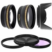 Kit Objectifs 52mm Super Telephoto Convertisseur 2,2x + Grand Angle 0,43x + Filtres UV CPL FLD + Pare Soleil pour DSLR D3200 D3100 D3300 D3000 D5000 D5200 D5300 D5100 Coolpix P7000 P7700 P7100 P7800 OBJECTIF LENS 18-55 55-200 CANON 50MM F/1.4 F/1.8