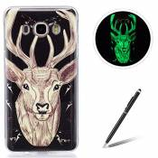 Samsung Galaxy J510/J5 2016 TPU Case Coque Samsung Galaxy J510/J5 2016 Gel Housse Feeltech [Gratuit Stylet Pen] Luminous Effect Noctilucent Green Glow in the Dark Matte White Ultra Slim Soft Rubber Shock Absorber Flexible Bumper Protective Cover Skin Shell pour Apple Samsung Galaxy J510/J5 2016 with Stylish Unique Colourful Printed Pattern Design - Sika Deer