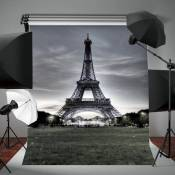 Toile de Fond Backdrop Tissu 150x90cm Tour Eiffel Soir Photographie Studio Photo